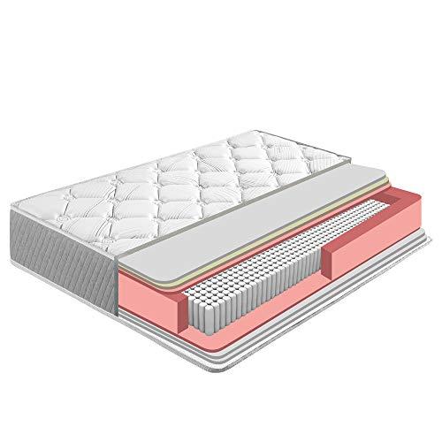 Matelas Soft Confort 160x200 cm de Ressorts Ensachés, 22 cm de Hauteur, Reversible, indépendance de...