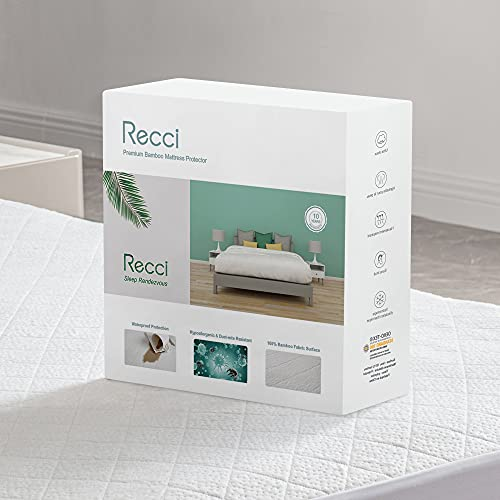 RECCI Protège Matelas 160x200 cm - 100% Fibre de Bambou, Ultra Doux, Hautement Respirant,...