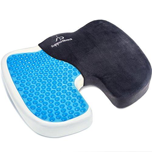 Coussin orthopédique pour le coccyx de qualité supérieure avec CoolGel® pour la voiture, le bureau,...