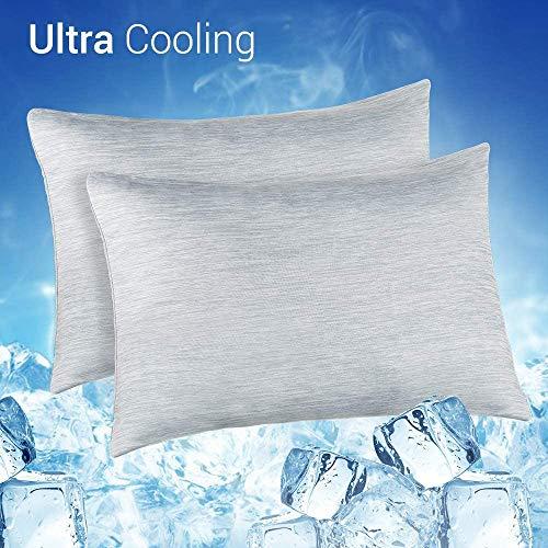 Elegear Lot de 2 Taie d'oreiller Rafraîchissante, Refroidissement par la Fibre Japonaise Q-Max 0,4,...