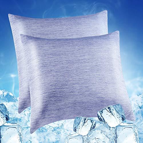 Lot de 2 Taie d'oreiller Froid Refroidissement à Fibre Respirante【Arc-Chill Japonais Q-Max 0,4】...