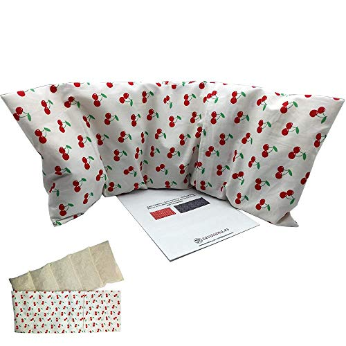 Coussins thermiques chaud et froid 'Cherries - white' (XL) - avec housse lavable - rempli de noyaux de...