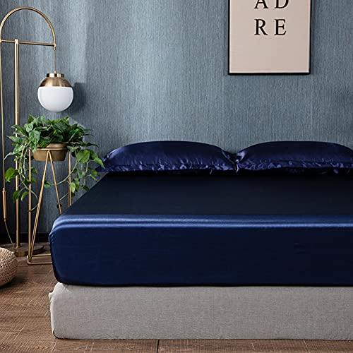 Chytaii Drap Housse 180x200 cm Bleu Foncé - Satin de Soie Doux Respirant Extensible Protège Matelas...