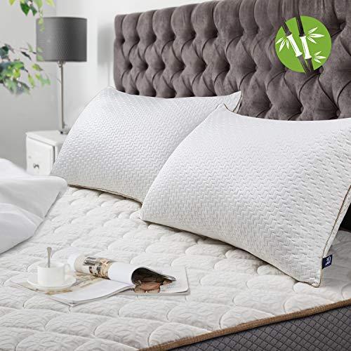 BedStory [Bambou Fibre Oreillers Bambou 50x70 Lot de 2 avec Taies Antiacariens Amovibles, Oreillers Anti...