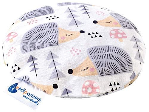 Coussin chauffant en noyaux de cerises pour bébé 180 g rond 15 cm 100% coton naturel Medi Partners...