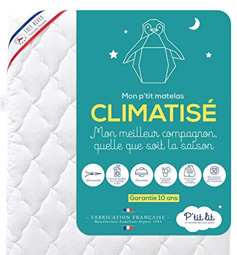 P'tit Lit - Matelas Bébé Climatisé - 60x120 cm - 1 face Été fraîche / 1 face Hiver ouatinée - Anti...