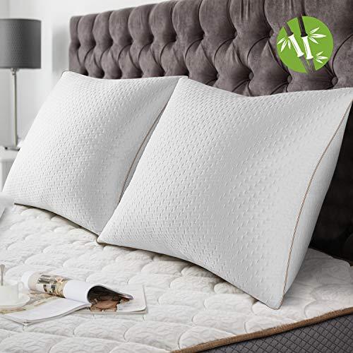 BedStory [Bambou Fibre Oreillers Bambou 60x60 Lot de 2 avec Taies Antiacariens Amovibles, Oreillers...